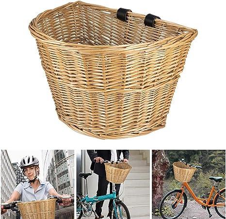 ACELEY Cesta de Mimbre para Bicicleta con Manillar Delantero, Cesta de Mimbre para Bicicleta con Correas de Cuero, Cestas de Ciclismo Hechas a Mano, Cesta Retro para Bicicleta: Amazon.es: Deportes y aire