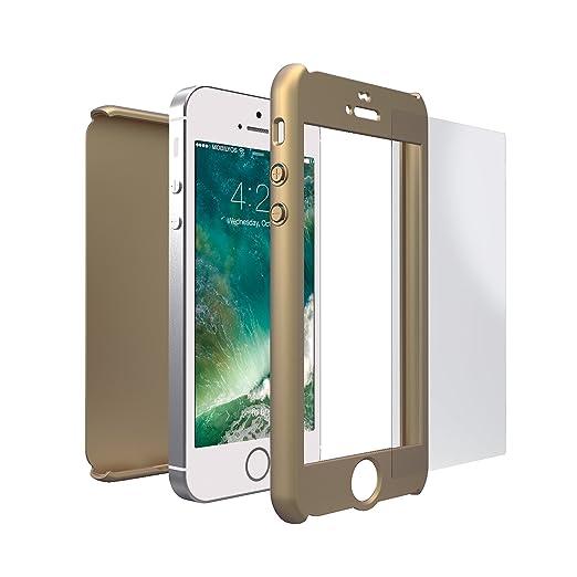 84 opinioni per Cover iPhone SE 360 Gradi + Pellicola Vetro Temperato, Mobilyos® [ 360 ° ] [ Oro