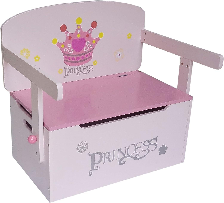 Kiddi Style Caja Almacenaje Juguetes + Banco y Mesa + Silla – Diseño Princesas - Convertible - Madera - para niños
