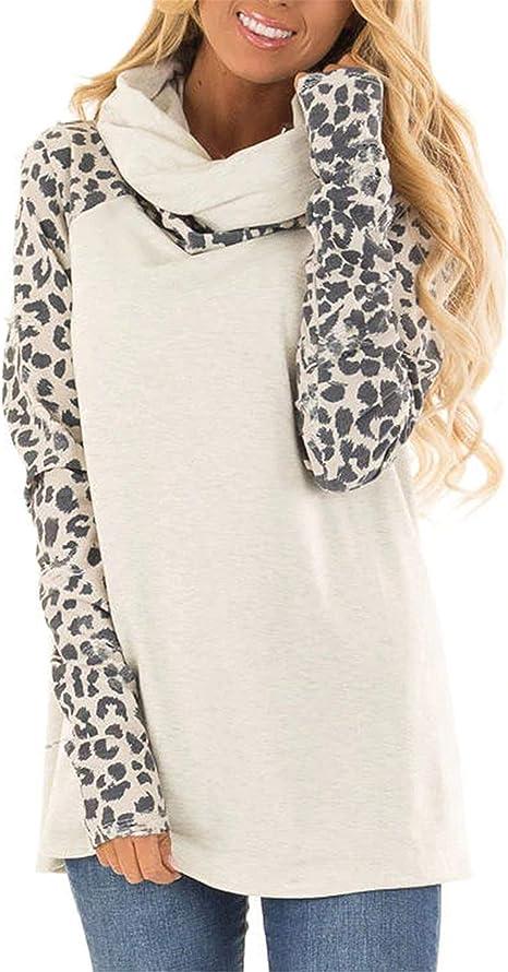 DayToy Women Leopard Shirt Cowl Neck Sweatshirts Color Block Tunic Long Sleeve Comfy Stripe Blouse Casual Tops