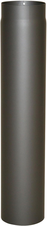 Kamino - Flam – Tubo para chimenea, Acero tubo para estufa de leña, Conducto de humos, Tubo vitrificado, Gris oscuro, Ø 120 mm/altura 750 mm
