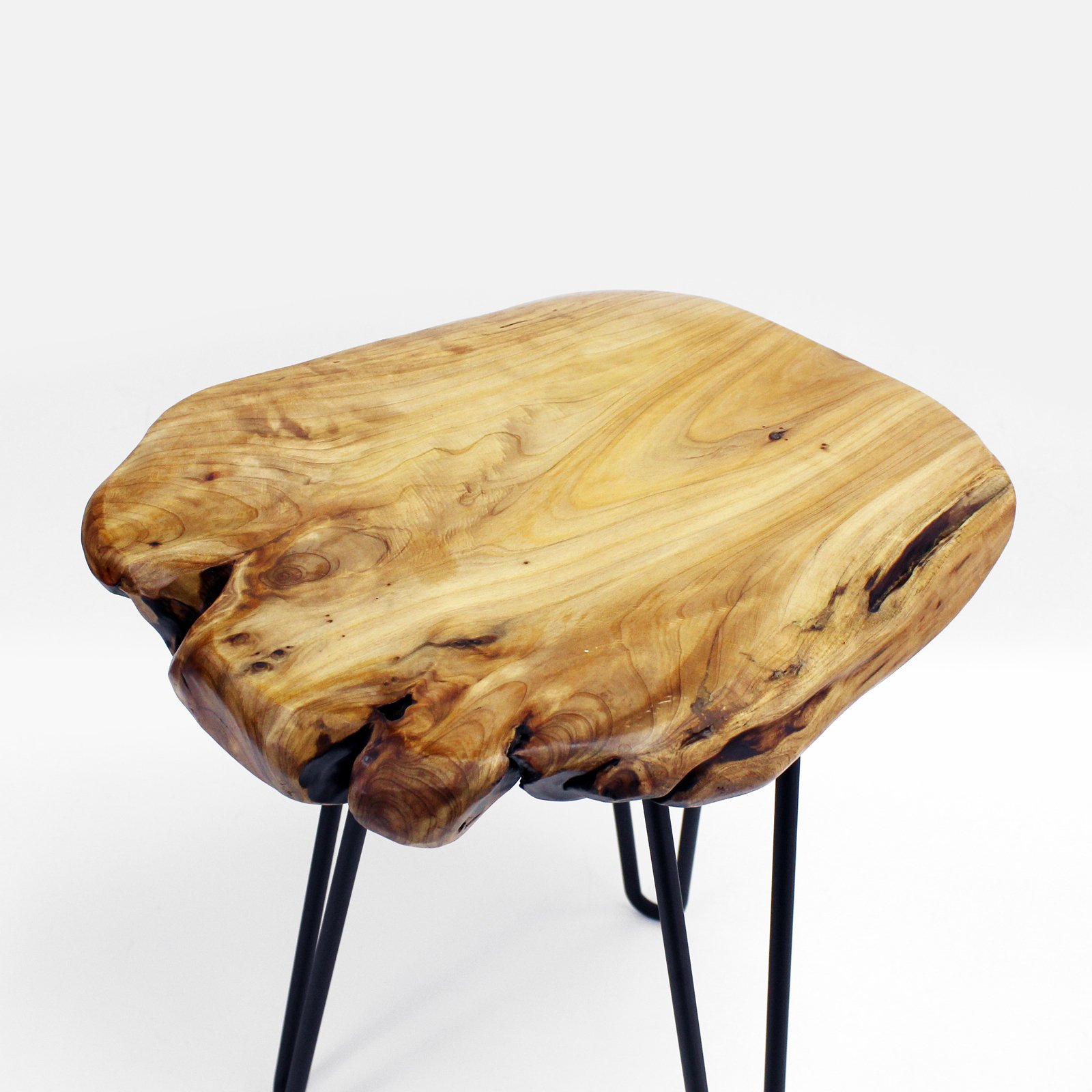 WELLAND Live Edge Side Table with Hairpin Legs, Natural Edge Side Table, Small Nightstand Wood, 15.5'' Tall by WELLAND (Image #4)