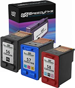 Speedy Inks Remanufactured Ink Cartridge Replacement for HP 56 HP 57 HP 58 (1 Black, 1 Color, 1 Photo Color, 3-Pack)