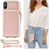 ZVE Case for iPhone Xs Max Case, 6.5 inch, Walllet Case with Credit Card Holder Slot Crossbody Chain Handbag Purse Wrist Zipper Strap Case Cover for Apple iPhone Xs Max 2018 - Rose Gold