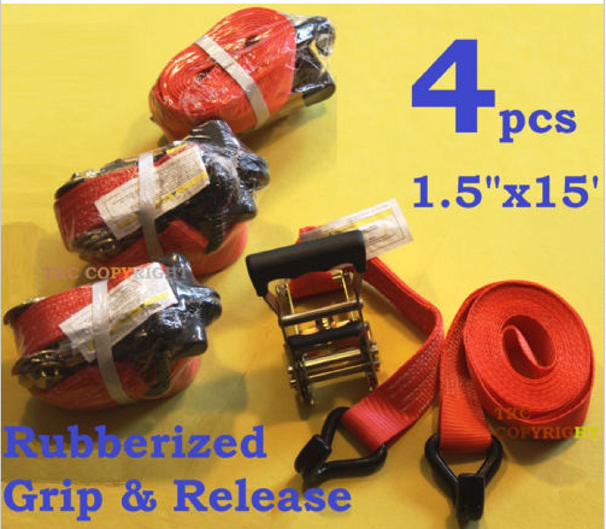 USA Premium Store 4PC 1-1/2'' x 15 ft Heavy Duty Ratchet Cargo Tie Down Straps 3000lbs Dual J-Hooks by USA Premium Store