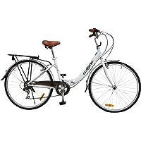 Ecosmo Vélo de ville 26'' pliable pour femme 7SP Shimano -26ALF08W