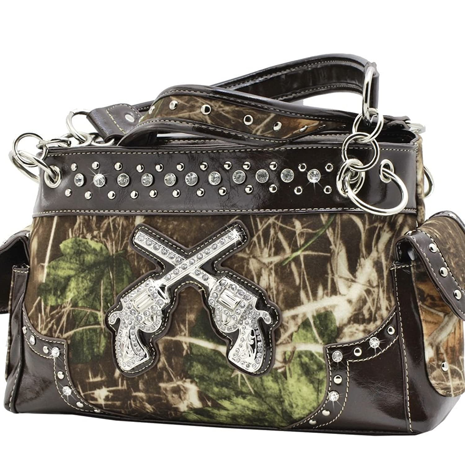 Western Cowgirl Guns Pistol Purse Camouflage Handbag Camo Brown Trim