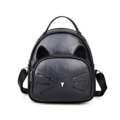 2230597b8ced Image Unavailable. Image not available for. Color  Cheryl Bull Fashion  Backpack PU Leather Backpack Cute Cats Backpacks For Teenage Girls School  Bags Small