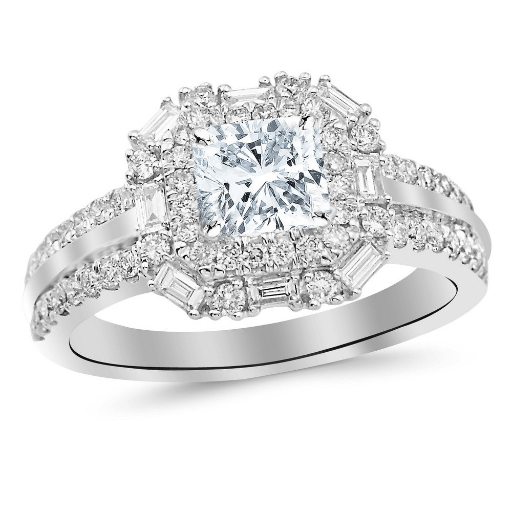 228c5c4fb3801d 1.2 Cttw 14K White Gold Cushion Cut Double Row Baguette and Round Halo  Diamond Engagement Ring with a 0.5 Carat H-I Color SI2 Clarity Center