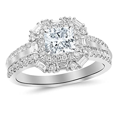 1 2 Cttw 14k White Gold Cushion Cut Double Row Baguette And Round Halo Diamond Engagement Ring With A 0 5 Carat Hi Color Si2 Clarity Center