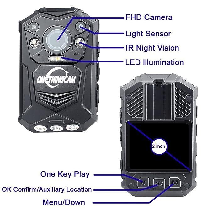 onething cuerpo cámara Policía cámara Full HD 1296P 30 fps 64 G memoria han 140 grados de ángulo ancho lente de visión nocturna y GPS: Amazon.es: ...