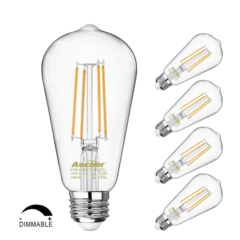 Dimmable Vintage LED Edison Bulbs 60 Watt Equivalent E26 Medium Base ST58 Antique LED Filament Bulbs Eye Protection Led Bulb with 98+ CRI Warm White 2700K Pack of 4