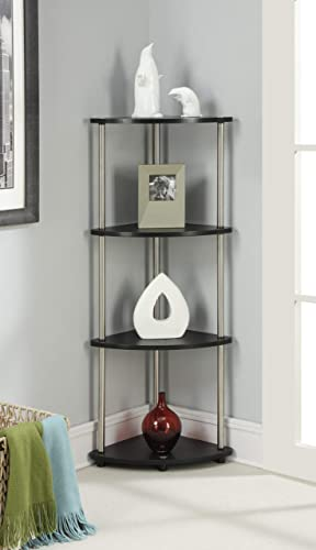 Convenience Concepts Designs2Go X-Tra Storage 4-Tier Corner Shelf, Black