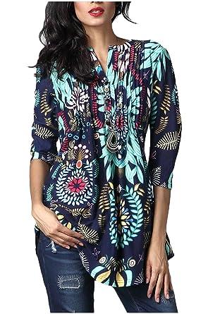 Minasan Sommer Damen Elegant Vintage Blumenmuster 3 4 ärmel T-Shirt  Rundhals Falten Langes Bluse Oberteile  Amazon.de  Bekleidung 7f3c67b5e8