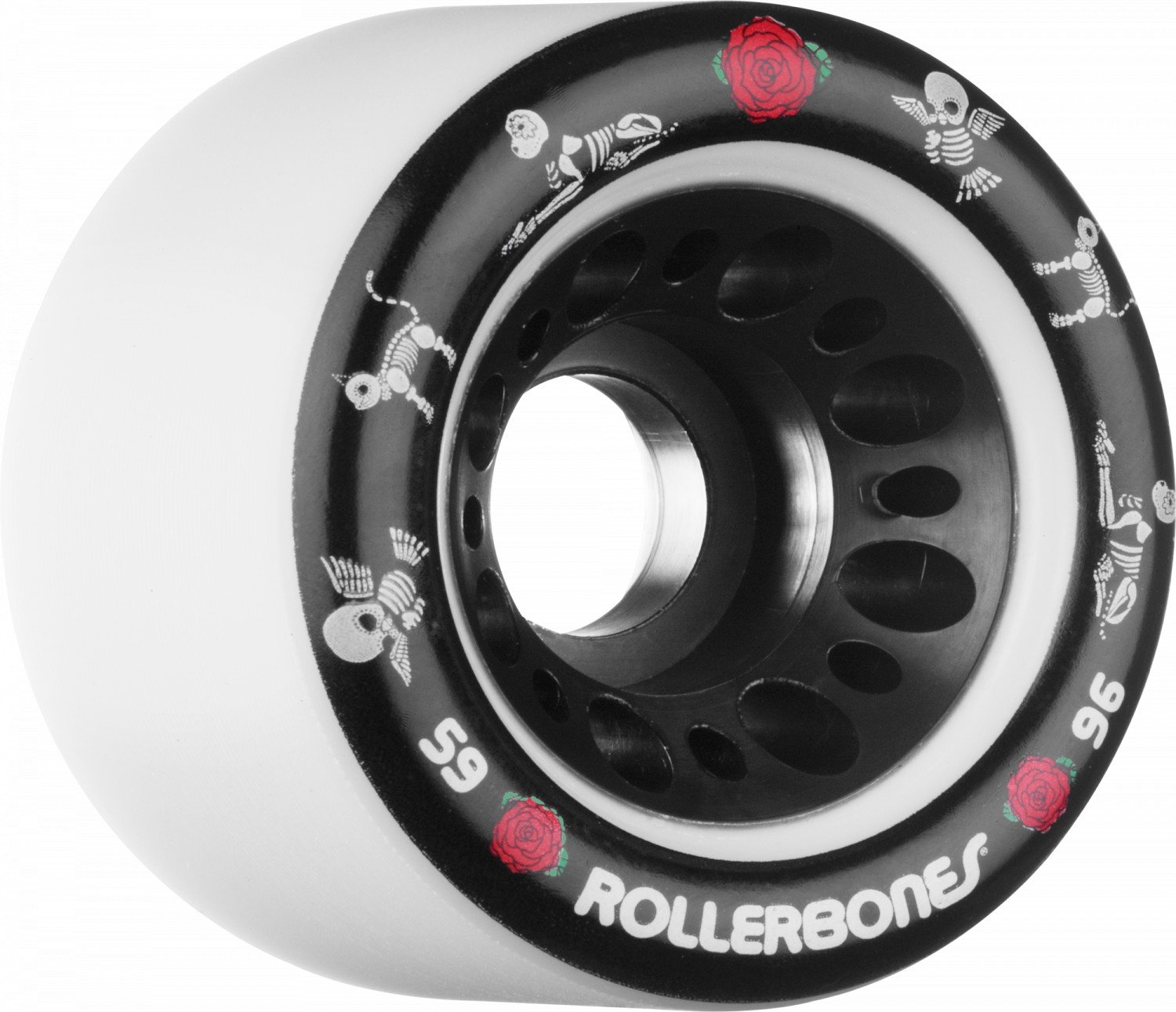 RollerBones Day of The Dead Pet Derby Skating Wheels White 96A