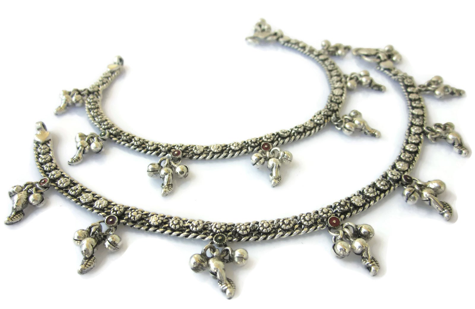 Metal Chain Paisley Charm Anklet Pair - Ankle Bracelet Boho Barefoot Sandals Beachy Jewelry - Indian Payal - Oxidized Silver Plated - Handmade Fine Soldered
