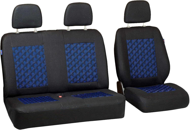 Couleur Premium Noir avec Effet 3D Bleu Zakschneider Housses De Si/ège pour Peugeot J5 Ensemble De Housses 1+2