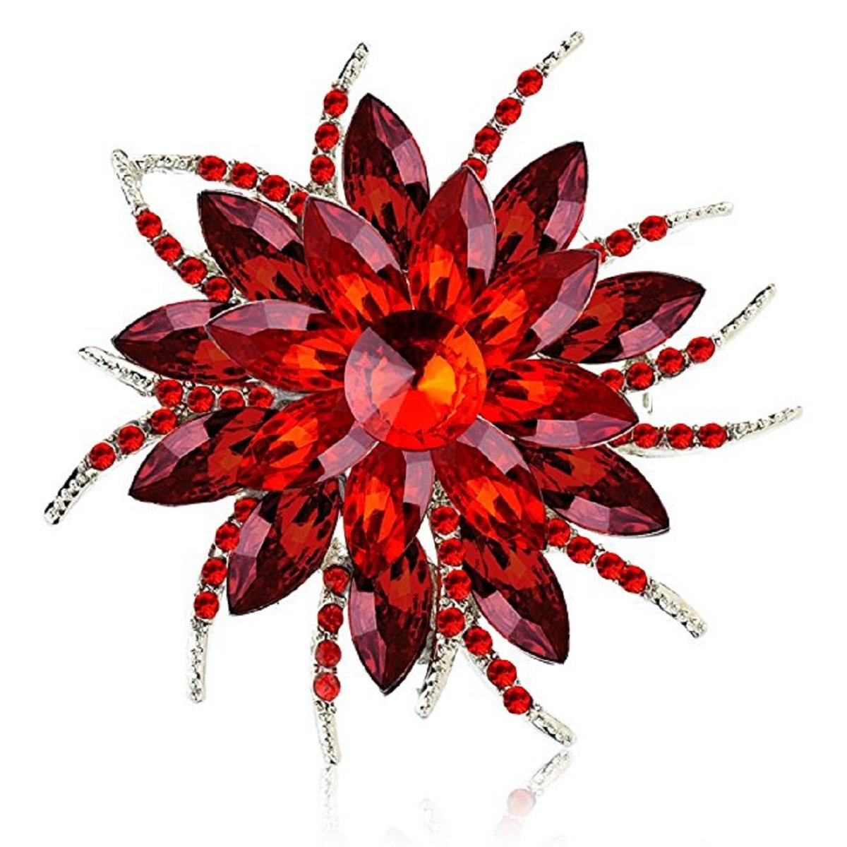 Ailer Fashionable Brooch Pins Women Bouquet Bloom Flower Wedding Created Crystal Brooch-Red