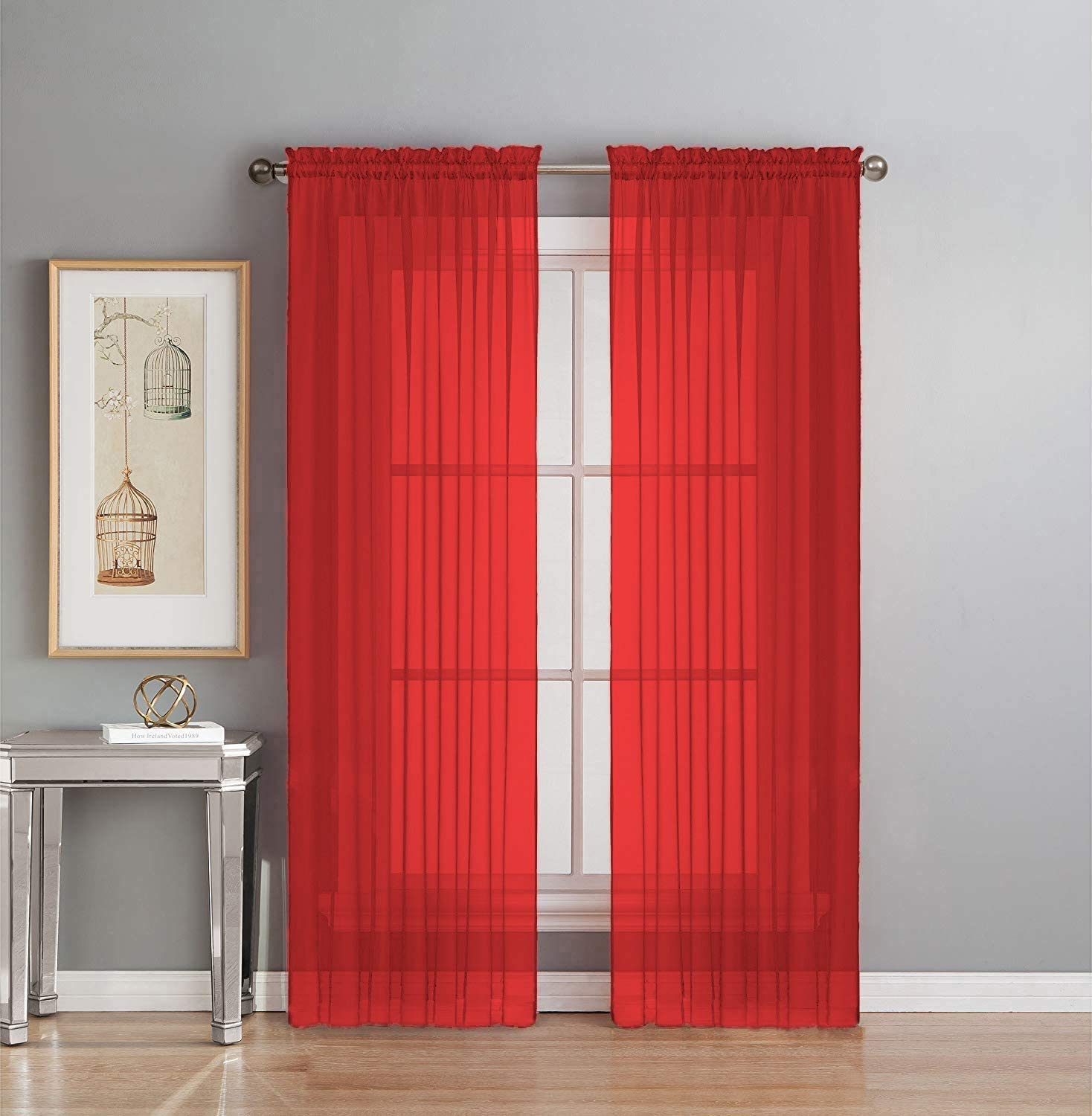 """Interior Trends 2 Piece Fully Stitched Sheer Voile Window Panel Curtain Drape Set (63"""" Long, Red)"""
