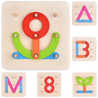 27 PCs Preschool Learning Toys Stacking Blocks Wooden Letters Number Shape Puzzles for Kids, Educational Toys Letter Board Set for Boys & Girls: Toys & Games