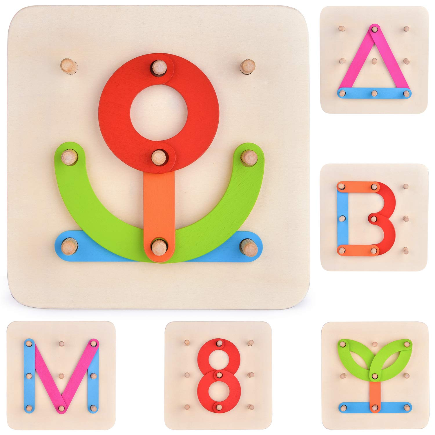 FUN LITTLE TOYS 27 PCs Wooden Letters Puzzles for Kids, Pegboard Set for Preschool Toy Learning Toy Stacking Blocks, Birthday Gift for Boys & Girls