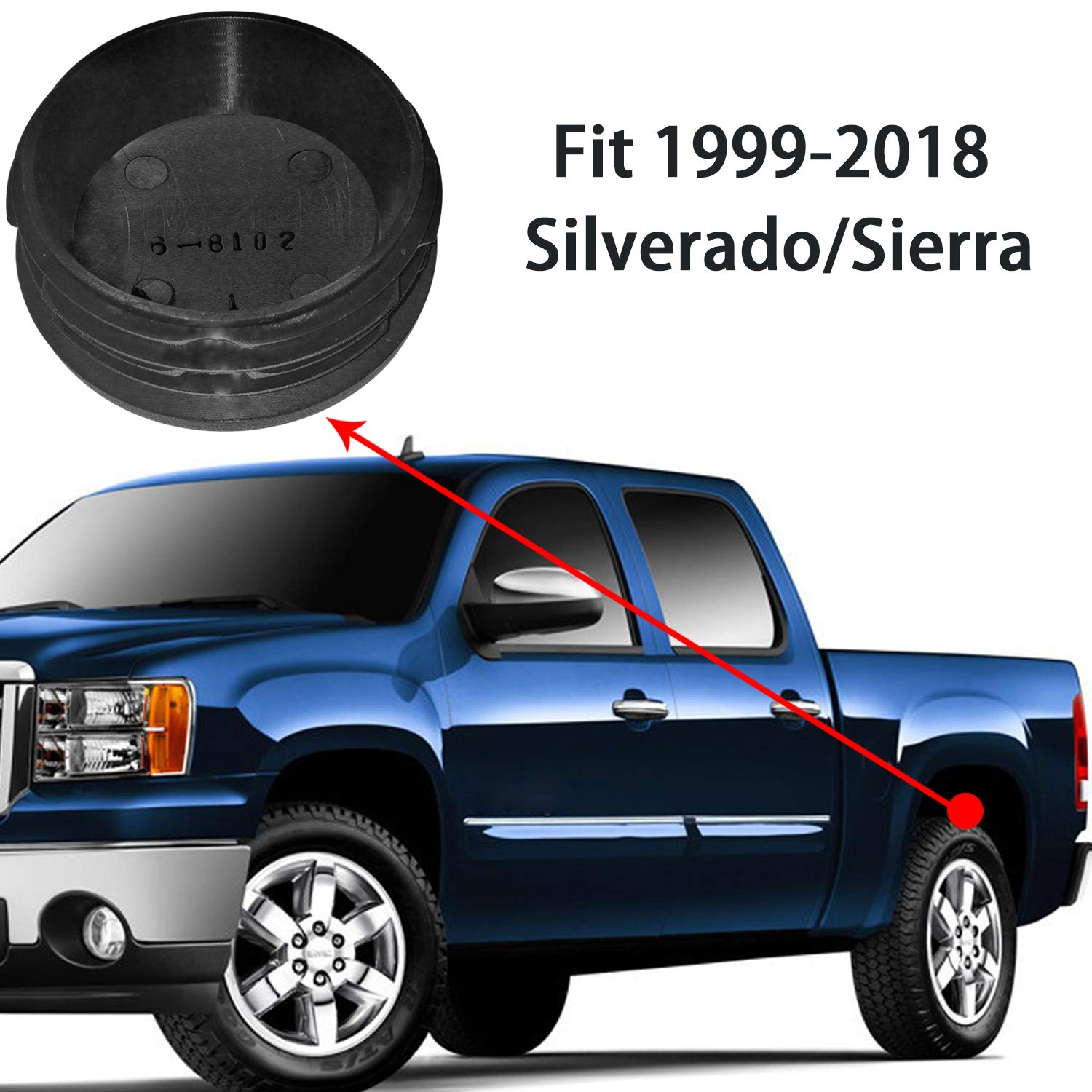 ZHUBANG Auto Frame Tube Hole Plugs Rear Wheel Well Covers Caps Rubber Car Accessories 4pcs Only for Chevy Silverado 1500 GMC Sierra 1500 1999-2018