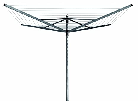 Brabantia Lift-O-Matic Tendedero de Jardín con Soporte y Funda, Acero Inoxidable, Gris Metalizado, 50 m
