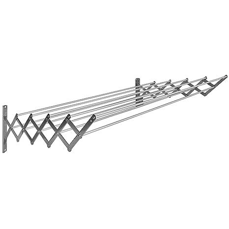 Sauvic 90852 - Tendedero E x tensible Inoxidable con 10 Varillas De Aluminio 80 cm, Color 80 x 78 x 26,5 cm