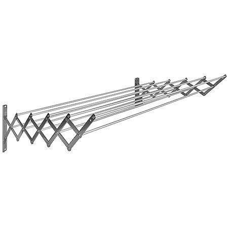 Sauvic Tendedero Extensible Inoxidable con 1O Varillas De Aluminio 100 Cm, Acero, 100x78x26.5 cm