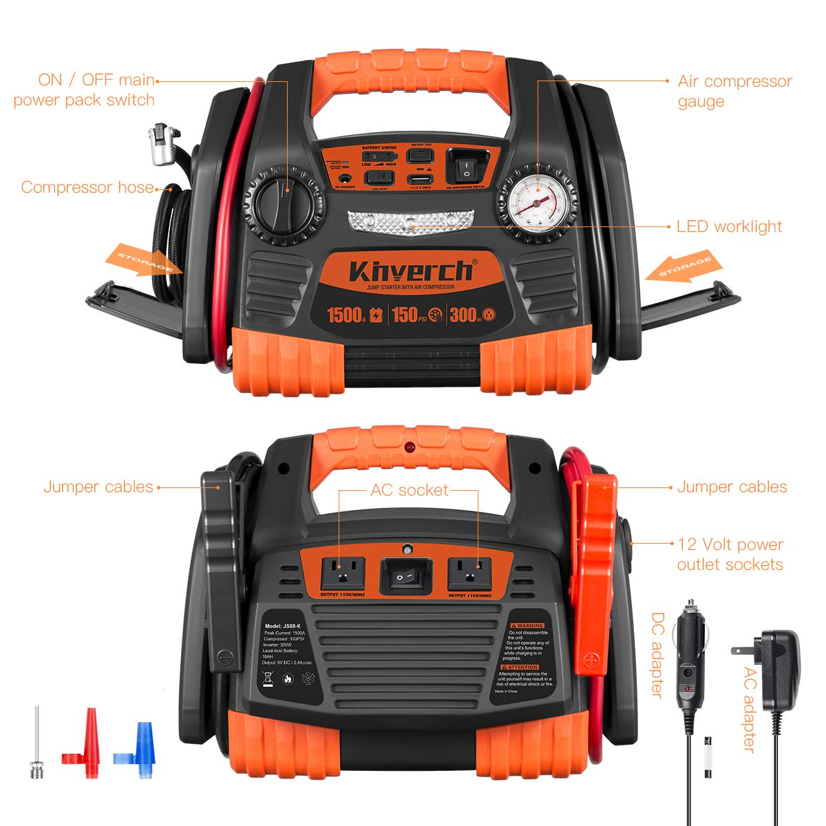 Kinverch Portable Power Station Jump Starter 1500 Peak/750 Instant Amps with 300W Inverter,150 PSI Air Compressor by kinverch (Image #3)
