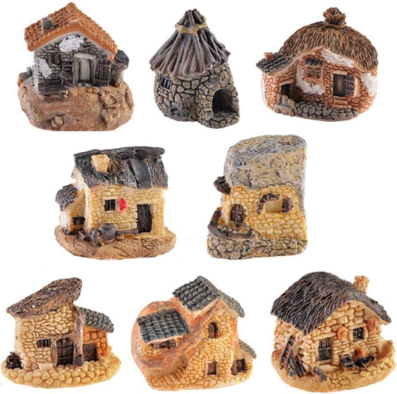 Miniature Fairy Garden Stone House, 8 Pcs Resin Village House Fairy Garden Kits Figurines, Mini Fairy Cottage House Fairy Garden Kits Figurines for Outdoor Plant Pot Micro Land Garden Patio Decoration