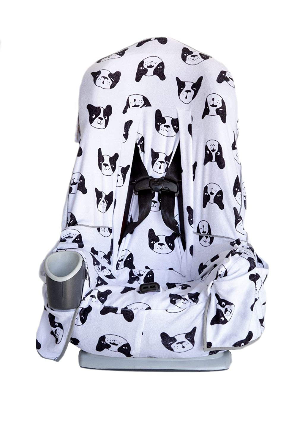 Niko Easy Wash Children's Car Seat Cover & Liner - Cotton Terry Black/White Dog Pattern - Universal FIT - Crash Tested - Waterproof SEAT Bottom - Mess Protection - Easy to Clean - Machine Washable