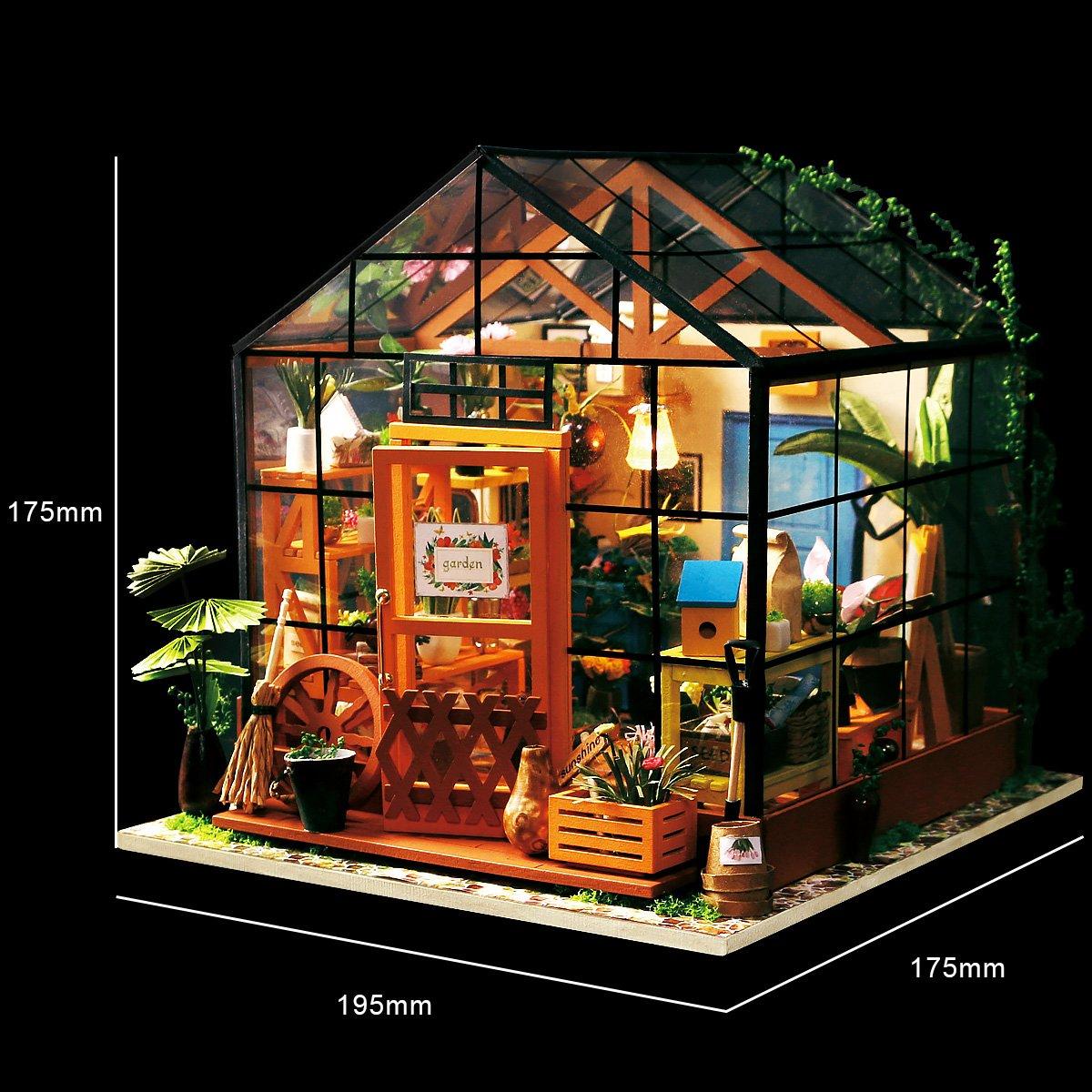 ROBOTIME DIY Dollhouse Kits Mini Green House
