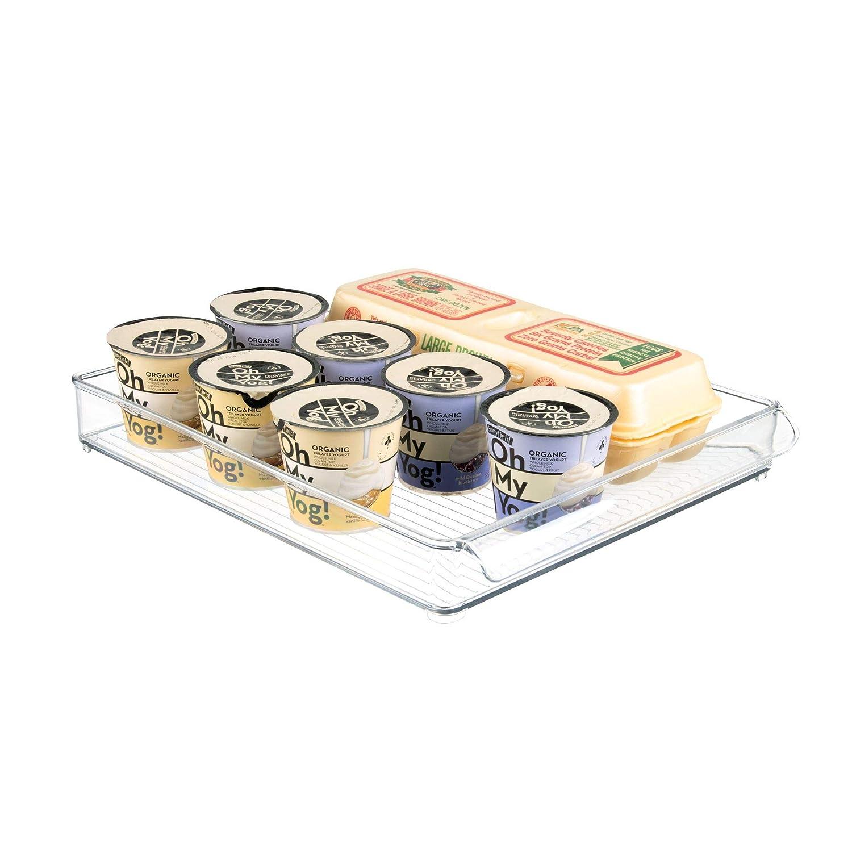 InterDesign Refrigerator and Freezer Storage Tray – Shallow Organizer Drawer for Kitchen, Clear