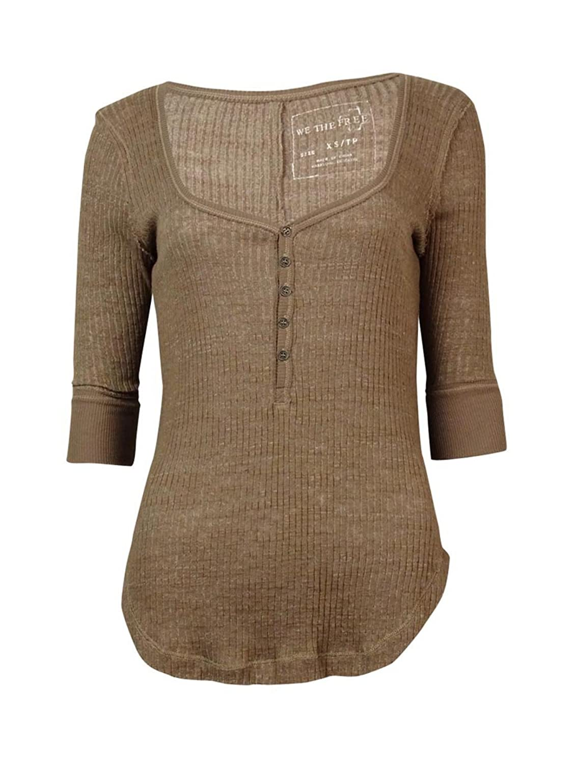 Free People Women's Plunging Neckline Slub Henley Top Taupe Brown Size Large
