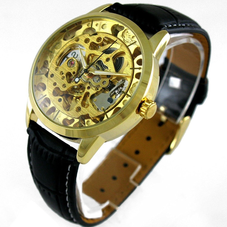 Vigoroso Men 's Automatic Self Winding MechanicalスケルトンレザーバンドGolden Watch B00SO7XWWY