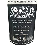 New - John's Killer Protein - Nighttime Blend. The Ideal Mix of 80% Slow Absorbing Casein & 20% Grass fed whey. Non-GMO, Soy & Gluten Free. Pure Protein Without sweeteners or Artificial Ingredients.
