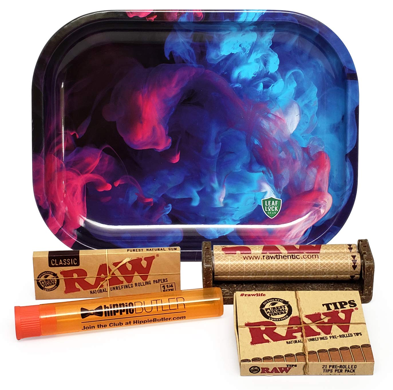 Bundle - 5 Items - RAW Classic 1 1/4 Rolling Papers, 79mm Roller, Pre-Rolled Tips with Leaf Lock Gear Mini Rolling Tray (Color Swirl) and Hippie Butler Kewl Tube