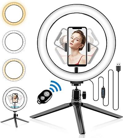 Todo para el streamer: Abafia Anillo de luz LED, Selfie Ring Light con Control Remoto Bluetooth y Trípode 3 Colores Modo 11 Brillos Regulables, Aro de luz LED Rotación de 360 ° para Selfie, Maquillaje y Youtube Live