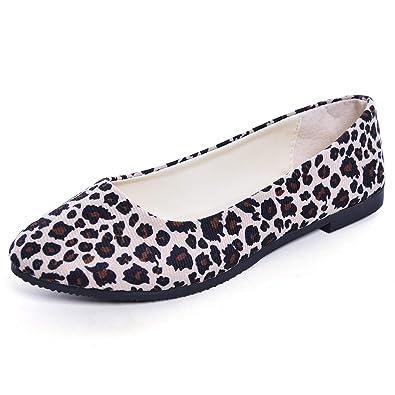 0223259e73602 Women's Leopard Print Ballerina Flats Shoes Walking Light Faux Suede Low  Heels Ballet Flat White 4