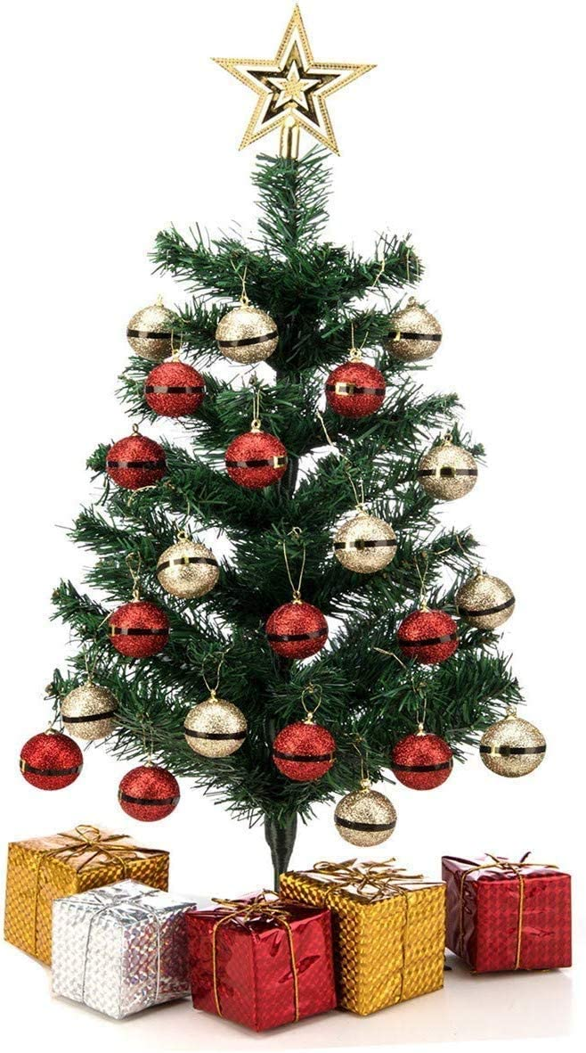 blitzlabs Tabletop Mini Christmas Tree with Gift Boxes Christmas Balls Ornaments Artificial Christmas Xmas Pine Trees Set Home Decor Desk Ornament for Home Office Supplies Gift 24''