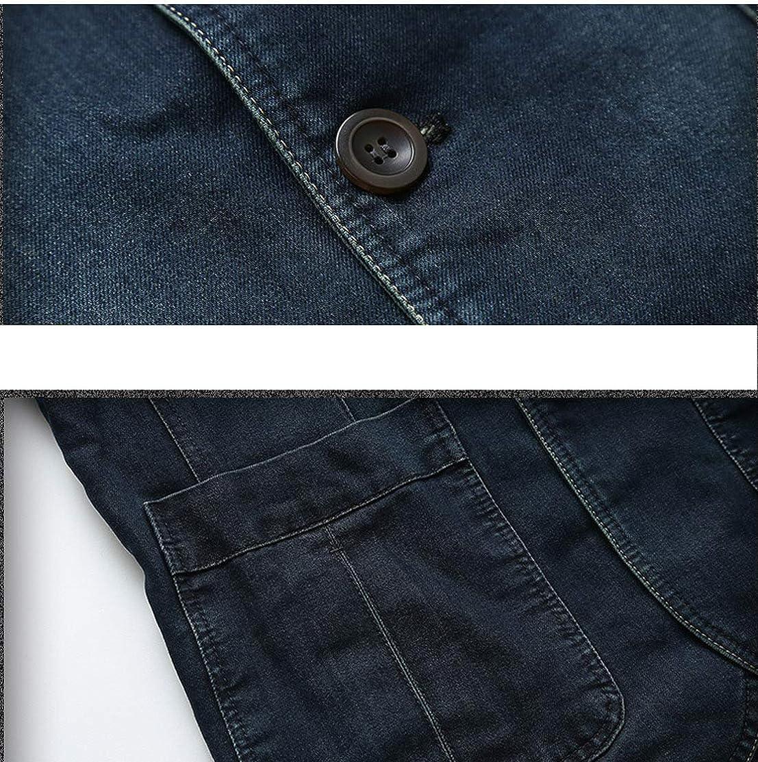 Omoone Mens Lapel Three-Button Casual Suits Slim Denim Jean Blazer Jacket