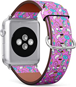 Compatible with Small Apple Watch 38mm & 40mm (All Series) Leather Watch Wrist Band Strap Bracelet with Stainless Steel Clasp and Adapters (Unicorns Donuts Rainbow)