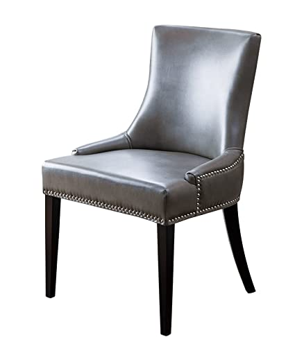 Abbyson® Annalise Leather Nailhead Trim Dining Chair Gray  sc 1 st  Amazon.com & Amazon.com - Abbyson® Annalise Leather Nailhead Trim Dining Chair ...