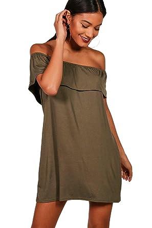 Schulterfreies ausgestelltes kleid
