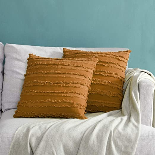"Solid Orange Cotton Cushion Cover Home Decor Sofa Throw Pillow Case 18/""X18/"""