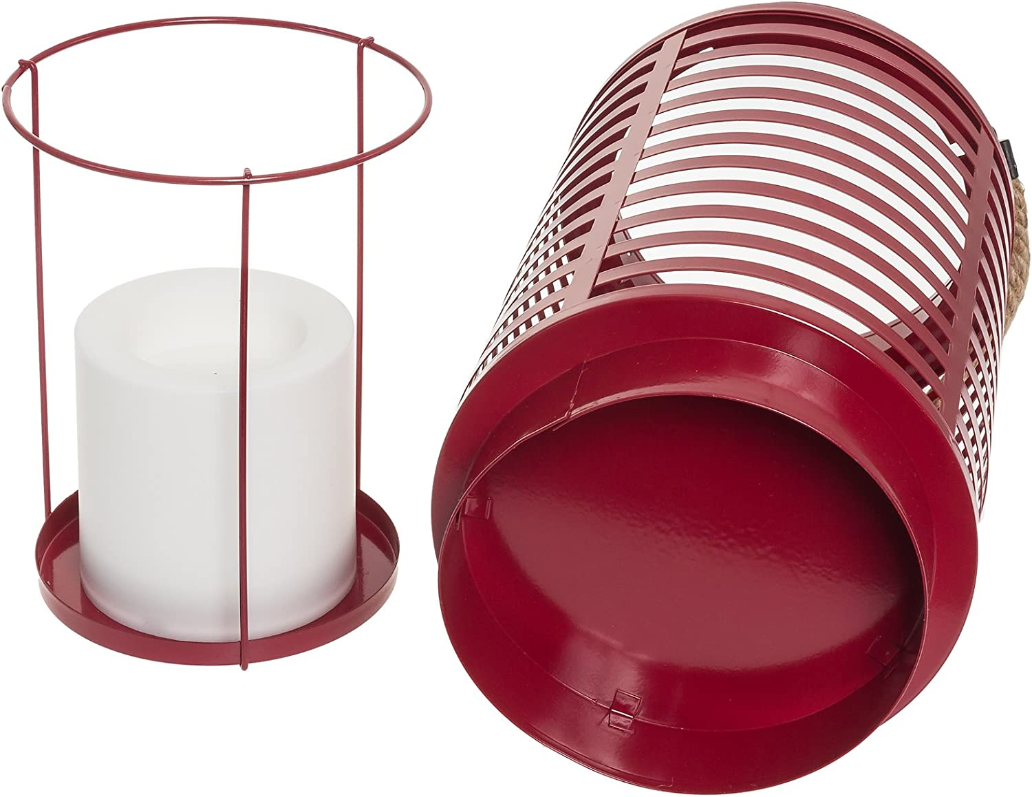 Red Paradise GL28994RD Metal Led Flameless Candle Lantern