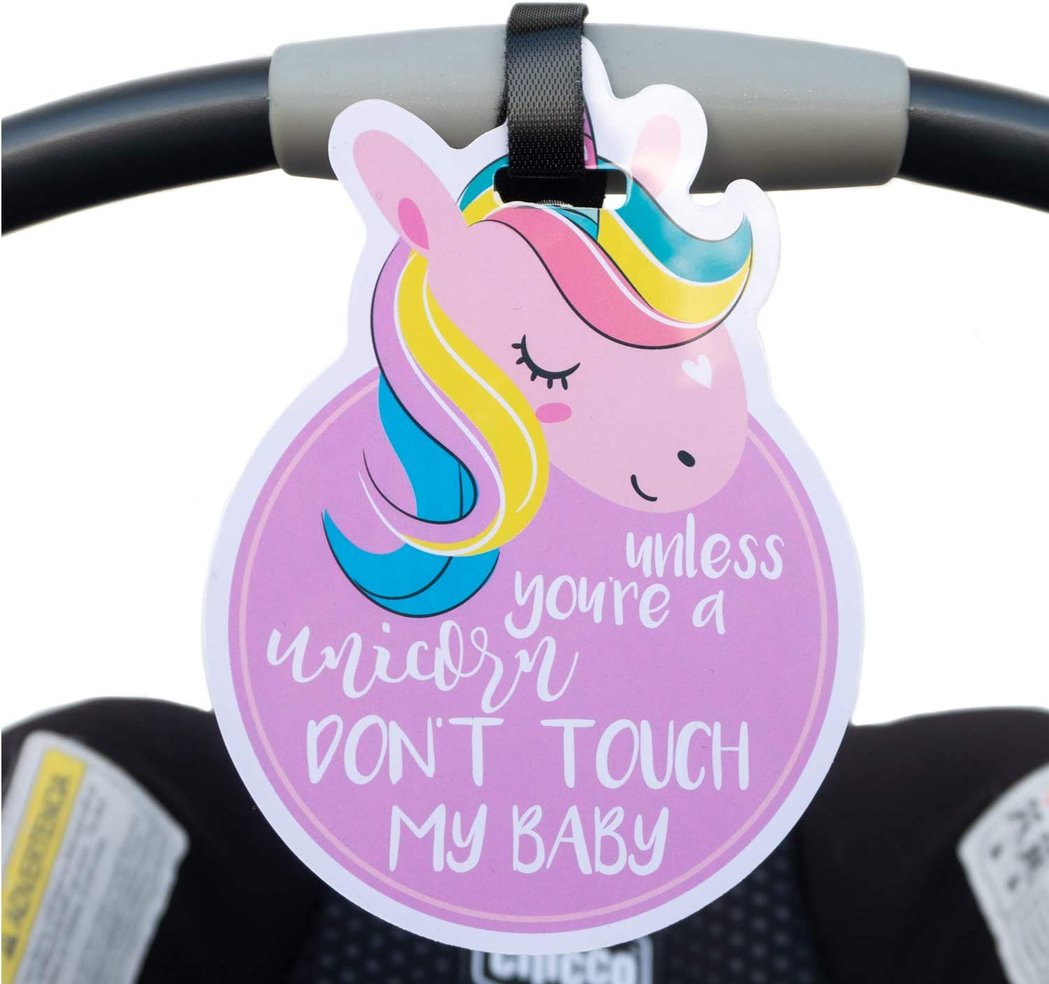 Unicorn Animal Theme No Touching Baby Car Seat Sign or Stroller Tag CPSIA Safety Tested THREE LITTLE TOTS