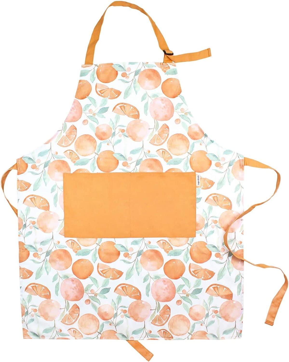 Sage and Stitch Adjustable Neck Cooking Apron for Women 27'' x 33'' Machine Washable with 2 Pockets for Chef BBQ Baking - Oranges