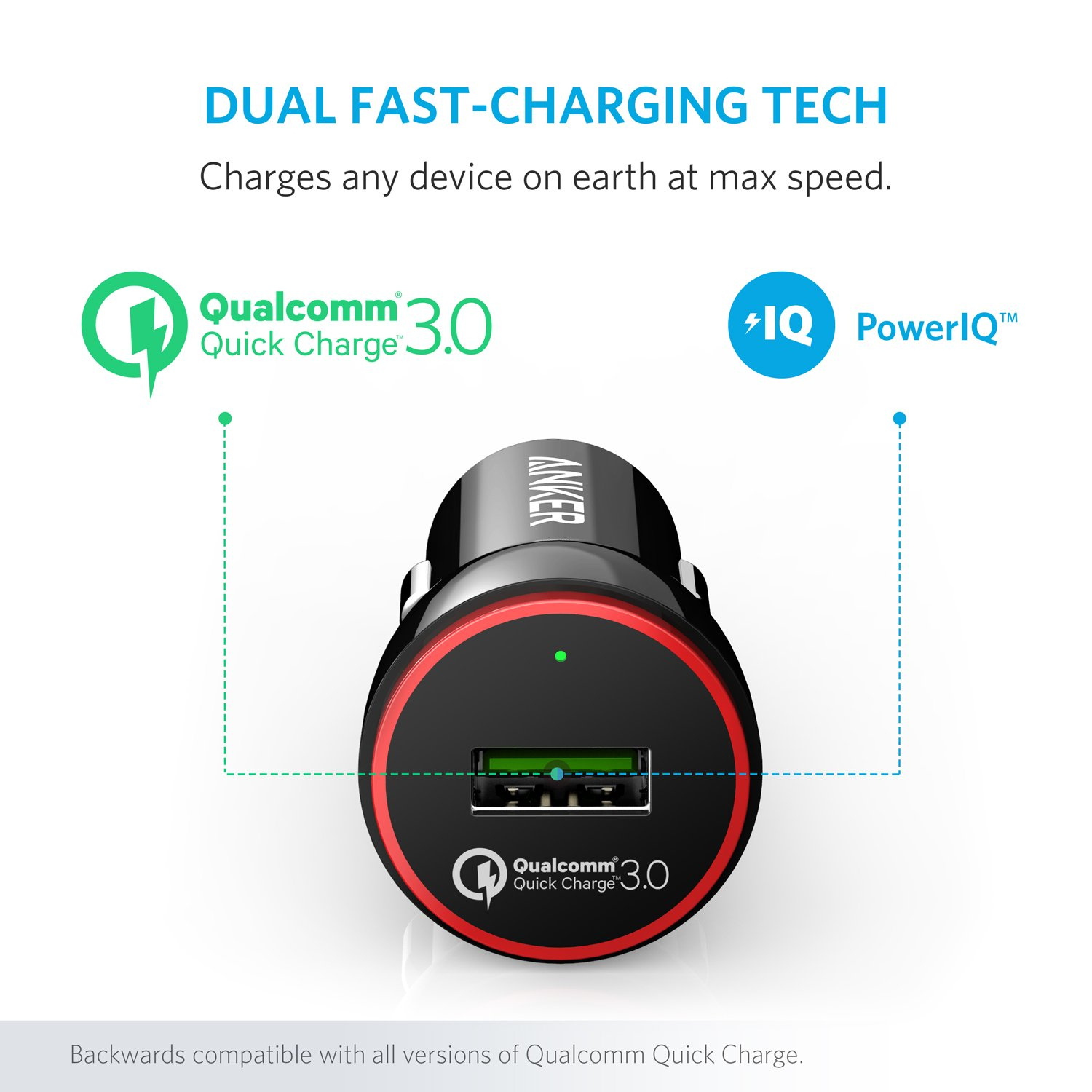 Anker Quick Charge 3.0 24W USB Car Charger, PowerDrive+ 1 for Galaxy S7/S6/Edge/Plus, Note 5/4 and PowerIQ for iPhone X/8/7/6s/Plus, iPad Pro/Air 2/mini, LG, Nexus, HTC and More by Anker (Image #4)